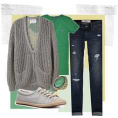 love the green with a gray sweater!