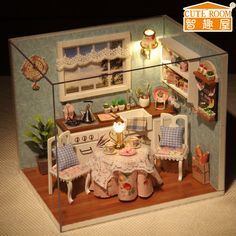 DIY Wooden Dollhouse Miniature Dining Room Model Kit With Cover And LED furnitures Handcraft Miniature Kitchen Doll house Wooden Dolls House Furniture, Led Furniture, Dollhouse Furniture, Furniture Buyers, Luxury Furniture, Furniture Market, Furniture Outlet, Kitchen Furniture, Furniture Stores