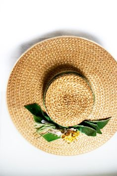 Green velvet ribbon, yellow flowers Large Flower Straw Hat. 1900s 20s. // by SalvatoCollection on Etsy, $239.00