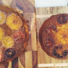 blood orange upside down cake baked in a cast iron pan via The Dinner Party Association