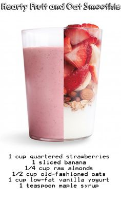 Hearty Fruit and Oat Smoothie, just replace the yogurt with almond milk maybe..