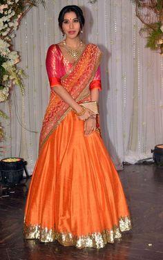 Bipasha Basu-Karan Singh Grover wedding: Salman Khan to Shah Rukh Khan, B-Town celebs grace the reception Orange Lehnga, Indian Dresses, Indian Outfits, Banarasi Lehenga, Half Saree Designs, Lehenga Style, Indian Bridal Lehenga, Festival Dress, India Fashion