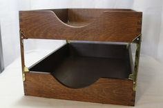 Vintage Office Product, 2-Tiered Wooden Letter Trays, In & Out Boxes