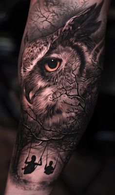 50 of the Most Beautiful Owl Tattoo Designs and Their Meaning for the Nocturnal Animal in You - awesome owl tattoo ideas © tattoo artist 𝕵𝖔𝖘𝖊 𝕮𝖔𝖓𝖙𝖗𝖊𝖗𝖆𝖘 Jos - Owl Eye Tattoo, Owl Tattoo Drawings, Lion Tattoo, Art Drawings, Wolf Tattoos, Animal Tattoos, Body Art Tattoos, Sleeve Tattoos, Fish Tattoos