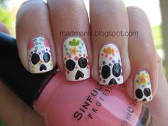 cute sugar skull nail art
