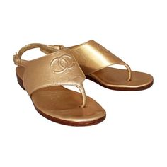 Chanel Gold Leather Sandals - 5