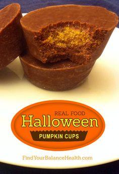 Halloween Pumpkin Fudge Cups (Real food, paleo & vegan)