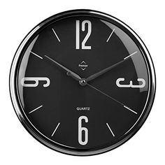 Premier Housewares Wall Clock with Silver Frame - Black