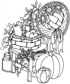 Beccy's Place: Cottage Chair Pattern Coloring Pages, Coloring Book Pages, Coloring Pages For Kids, Digital Stamps Free, Fall Drawings, Halloween Embroidery, Scrapbook, Digi Stamps, Copics