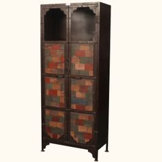 Industrial Brick Façade Reclaimed Wood & Iron Cabinet Armoire