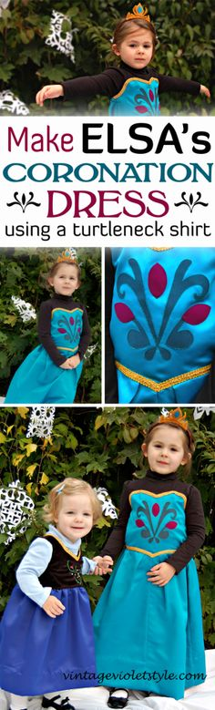 Elsa Coronation Dress Tutorial... Use a store bought turtleneck shirt to save time making Elsa's coronation dress from Frozen! Also has a tutorial for how to make Anna's dress!