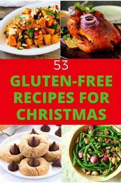 Collage of 4 recipes with the copy 53 Gluten Free Recipes for Christmas Planning for a gluten free Christmas dinner? Check out these 53 Gluten-Free Recipes for Christmas! Lots of healthy options. Gluten Free Christmas Recipes, Healthy Gluten Free Recipes, Gluten Free Breakfasts, Gf Recipes, Foods With Gluten, Gluten Free Cooking, Gluten Free Desserts, Celiac Recipes, Healthy Options