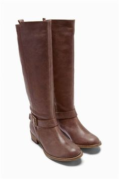 Buy Leather Buckle Sludge Long Boots from the Next UK online shop