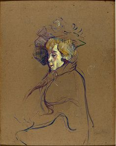 Toulouse-Lautrec Jane Avril 1892. Oil on cardboard mounted on wood. 67,8 x 52,9 cm.
