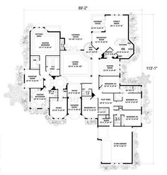House Plan 55772 with 5131 Sq., 5 Bedrooms, 5 Bathrooms, 2 Car Garage at family home plans Family House Plans, Dream House Plans, House Floor Plans, My Dream Home, Home And Family, Family Room, Building Plans, Building A House, Plan Design