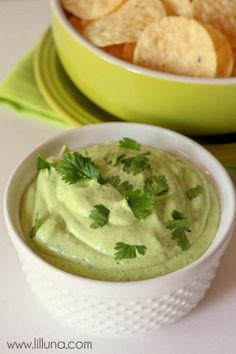 Avocado Lime Ranch Dip recipe on { lilluna.com }