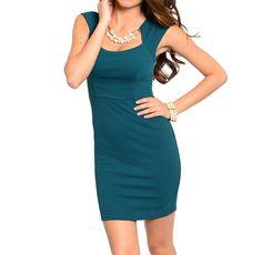 Square Neck Empire Waist Sheath Bodycon Knit Stretch Cap Sleeve Jewel Neck Dress #Fashion #EmpireWaist #Casual