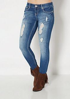 Destroyed Sandblasted Skinny Jean in Curvy