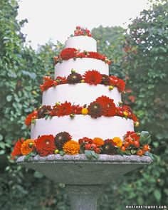 Beautiful Dahlia Wedding Cake