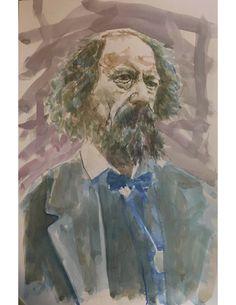"portrait (watercolor, 12"" x 18"", Oct. 15, 2017, following a photo by Julia M Cameron of A. Tennyson)"