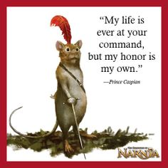 Reepicheep - the mice were given sentience due to their natural respect for Aslan when he was bound after his sacrifice. Prince Caspian from the Chronicles of Narnia by C. Narnia Prince Caspian, Cair Paravel, Story Tale, The Valiant, Lion Mane, Unique Quotes, Chronicles Of Narnia, Cs Lewis, Jrr Tolkien