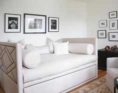 Nailhead design on upholstered daybed