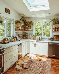 Modern Bohemian Kitchen Designs - Bohemian Home Living Room Earthy Kitchen, Cozy Kitchen, Kitchen Modern, Kitchen Ideas, Small Kitchen Layouts, Kitchen Jars, Kitchen Cabinets, Country Kitchen Designs, Backyard Kitchen