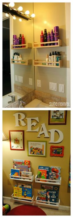 ikea spice rack shelves - good for holding my hair & face products