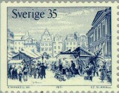 Country: Sweden; Series: Old-time Christmas; Catalog codes: Michel SE 729Dl Yvert et Tellier SE 709; Themes: Christmas | Feasts | Townscapes / City Views ...
