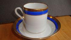 RICHARD GINORI DEMITASSE CUP AND SAUCER BLUE PALERMO PATTERN