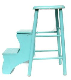 Reserved For Wendy ~vintage Turquoise Wooden Stool With Steps ~ Painted Wood…