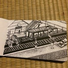 hegvannasche:  Oh, by the way, here's page 10. #rotring #moleskine #sketchbook #sketch #drawing #dessin #ink #illustration #dotwork #dot #pointillisme #instaart #train