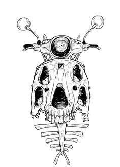 Vespa Skull.  #sketch #skull #ink #illustration #vespa Skull Sketch, Dark Artwork, Vespa, Psychedelic, Horror, Darth Vader, Ink, Illustration, Fictional Characters