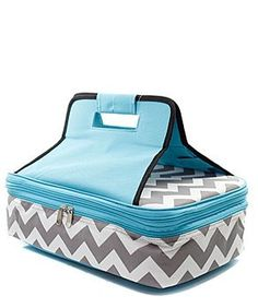 This is for a Personalized Grey and White with Aqua accents Chevron Insulated casserole carrier.    This trendy casserole tote makes carrying hot and