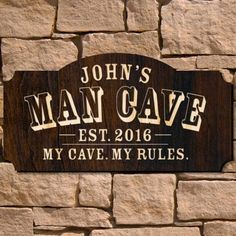 Man Cave Custom Wooden Sign (Signature Series) Immediately upon arrival to your man cave, greet guests with this eye-catching custom wooden sign. These personalized wooden signs feature the unmistakable mark of MAN CAVE and come custom engraved. Personalized Wooden Signs, Custom Wooden Signs, Wooden Diy, Custom Bar Signs, Man Cave Garage, Man Cave Basement, Garage Bar, Garage Signs, Man Cave Diy