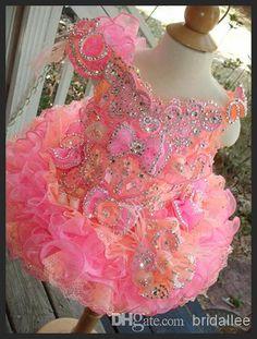 Little Girls Pageant Dresses Hot Fixed Rhinestones Beaded Handmade Flowers Toddler Glitz Mini Cupcake Gorgeous Pageant Glitz Dresses Pageant Resale Dresses From Bridallee, $126.04| Dhgate.Com