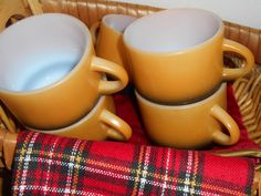 5 Anchor Hocking Fire King Orange Black 8 ounce Stackable Coffee Cups Vintage