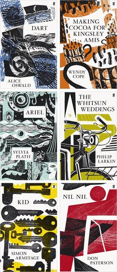 Illustrating covers for the collections of poetry published by Faber