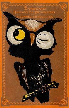 Fridge Magnet image of Vintage Halloween decor Owl crescent moon black orange trick or treat on Etsy, $3.50