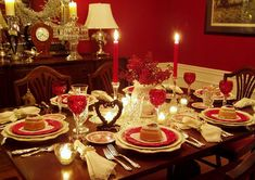 Valentine's Day Table Setting with Heart Cakes