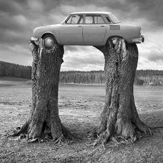 Parking by Dariusz Klimczak Les Beatles, Surreal Photos, Saatchi Gallery, Surrealism Photography, Foto Art, Paris Photos, Science Art, Black And White Pictures, Land Art