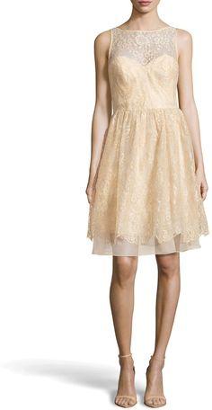 Theia Metallic Lace Illusion Party Dress on shopstyle.com