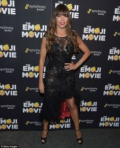 Lovely in LBD: The 45-year-old looked stunning in a short-sleeved black lace dress with a ...