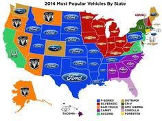 The most popular vehicles by state. (2014)
