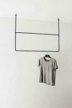IDEA FOR MASTER CLOSET  TWO CONNECTED PIPE RACKS SUNK INTO RAFTERS   clothes hanger