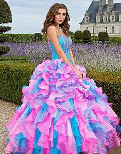 Mixed Color Organza Quinceanera Dresses Prom Dress Pageant Wedding Gown