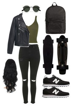 """""""Untitled #58"""" by everybodyneedsanemily ❤ liked on Polyvore featuring Topshop, MANGO, Ray-Ban, New Balance and Jagger"""