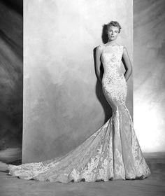 Verna, vestido de novia sexy, escote barco, estilo romántico