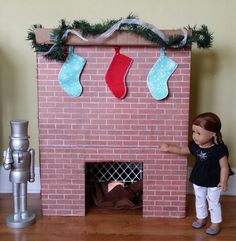 American Girl Doll Crafts and Fun!: Craft: Make a Fireplace for Your Doll (or Your Desk! lol)