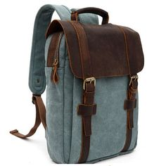 Yonger Leather Backpack Men Canvas Bookbag Vintage Women Laptop Backbag Bag for College Student Back to School - Dark green
